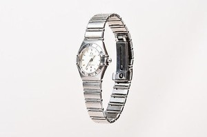 Omega Omega Black White Stainless Steel Roman Numeral Bezel 22mm Constellation Watch