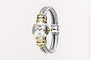 David Yurman David Yurman Sterling Silver 14k Yellow Gold Double Cable Watch
