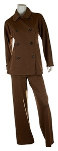 Charles Chang Lima Charles Chang-Lima Brown Wool Pant Suit, Size 10 (4212)