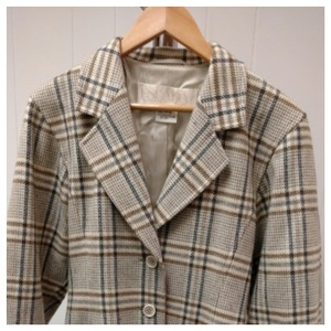 Escada Beige and slate plaid Blazer