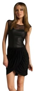 BCBGMAXAZRIA Leather Mesh Edgy Dress