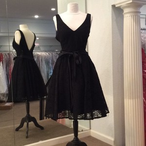 Mori Lee Black Lace Formal Bridesmaid/Mob Dress Size 12 (L)
