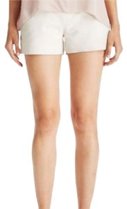 Joie Lambskin Leather High-waist Dress Shorts Cream