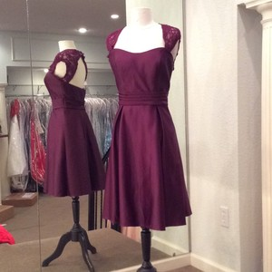 Mori Lee Eggplant Satin Formal Bridesmaid/Mob Dress Size 10 (M)