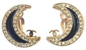 Chanel Chanel Rare Gold Plated Black Moon Clip on Earrings