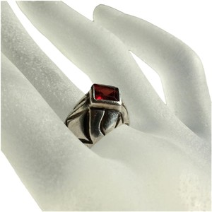 Other Taxco Mexico Handcrafted Sterling Silver 925 Garnet Bezel Ring