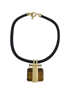 Brooks Brothers Brooks Brothers Black Leather Brushed Gold Tone Tigereye Necklace