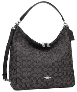 Coach Strap Slouchy Monogram Leather Zip Top Shoulder Bag