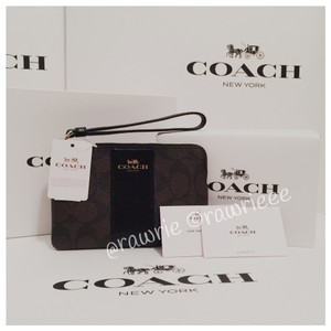 Coach Gift Box Small Monogram Zip Classic Wristlet in Black
