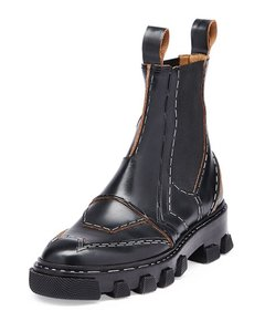 Balenciaga Leather Ankle Chelsea Black Boots