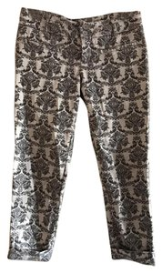 Anthropologie Floral Capris Gray & White