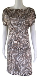 Trina Turk short dress Brown White Silk Blend Tiger Silky on Tradesy