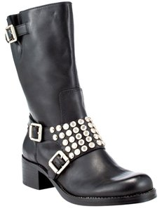 BCBGeneration Buckles Studded Black leather Boots