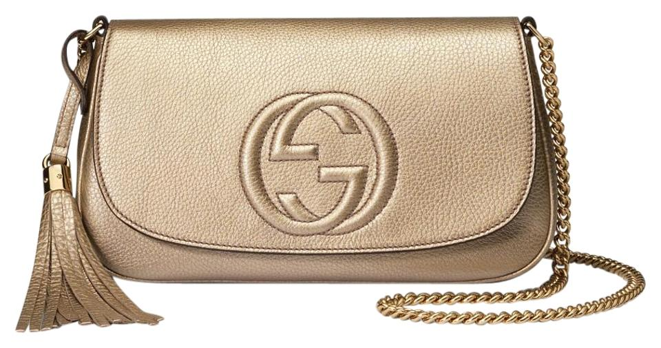 99773d9af Gucci Soho Metallic Beige Medium Chain Gg Gold Leather Cross Body ...
