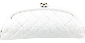 Chanel Caviar Quilted Timeless White Clutch