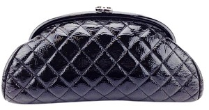 Chanel Quilted Patent Leather Black Clutch