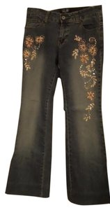 Angels Jeans Embroidered Embellished Straight Leg Jeans-Medium Wash