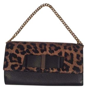 Kate Spade Haircalf Leopard Leather Black, Brown Clutch