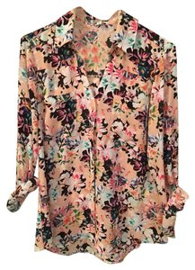 Express Black Mint Pink Button Down Shirt Floral