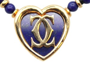 Cartier IMPOSSIBLE TO FIND heart CC Logo 18K gold lapis lazuli necklace