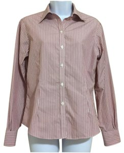 Brooks Brothers Longsleeve Striped Pinstripe Button Down Shirt Red & Gray