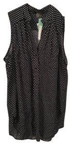 Market & Spruce Sleeveless Collarless Top Navy and white polka dot