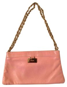 Kate Spade Vintage Leather Night Out Ballerina Gold Hardware Pink Clutch