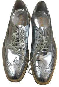 Prada Silver Metallic Wedges