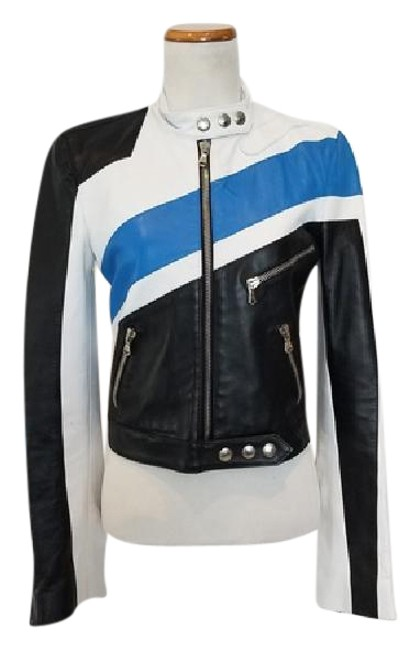 Item - Black White Blue Colorblock Leather Jacket Size 8 (M)