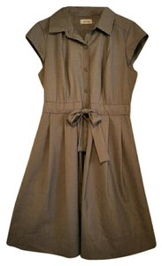 Calvin Klein short dress Gray Belted Collar Button Down Pleated Full Skirt Cap Sleeve on Tradesy