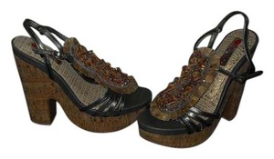 Two Lips Beaded Embellished Pewter/Gold Platforms
