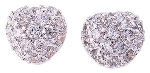Other Cubic Zirconia Encrusted Silver Rhodium Heart Earrings