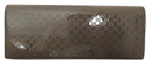 Gucci Patent Leather Logo Taupe Clutch