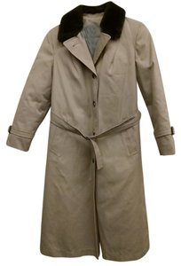 Eddie Bauer Full Length Faux Fur Belted Trench Coat
