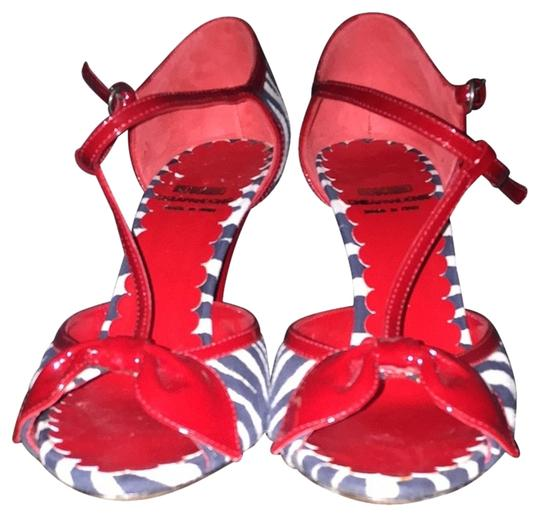Moschino Red . Black And White Sandals
