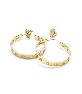 Tory Burch Tory Burch 31145554 Pierced T Logo Gold Tone Open Hoop Earrings