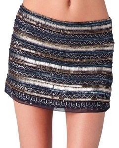 Parker Mini Skirt Navy, silver, copper, gold