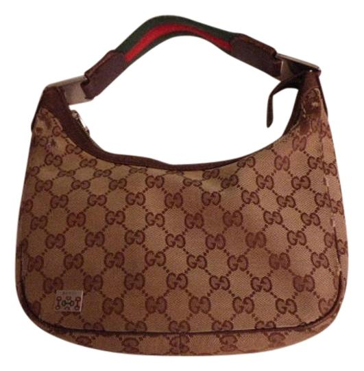006a7a0b774 gucci vintage purses designer shades of brown canvas leather   red green  striped str... TRADESY