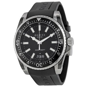 Gucci Black Dial Rubber Strap Stainless Steel Sport Mens Designer Watch