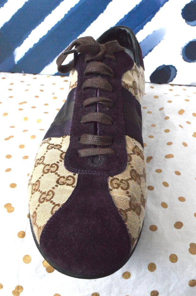0b1d954a2 Gucci Men's Sneakers Size 13 Gg Web Brown + Purple Athletic Image 11.  123456789101112