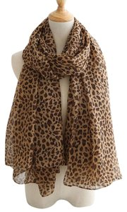 Other New Panther Print Chiffon Scarf Brown Long P2295