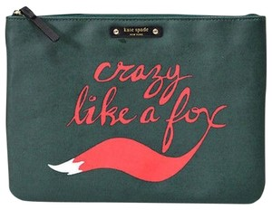 Kate Spade Gia LG Pouch Blaze A Trail Travel Cosmetic Case NWT Hunter Green