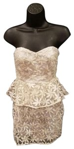 Pins and Needles Peplum Sweetheart Floral Embroidered Strapless Dress