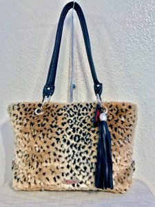Chouette Leather Tote in Black leather/black & tan faux fur