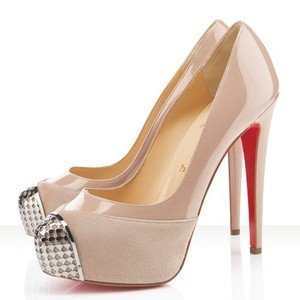 Christian Louboutin Suede Patent nude Pumps