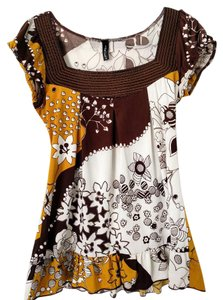 HeartSoul Flowers Floral Top Yellow, Brown, White