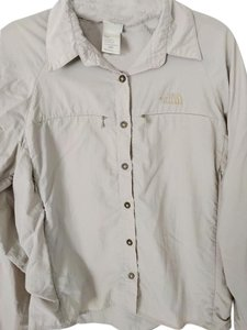 The North Face Sun Protection Hiking Lightweight Quick Dry Activewear Button Down Shirt Taupe/Slate