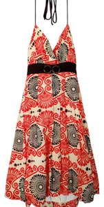 Trixxi short dress Orange, Brown, Cream Halter Tropical on Tradesy