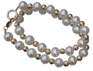 Other 4.5-5 mm pearl and gold bead bracelet 7.5
