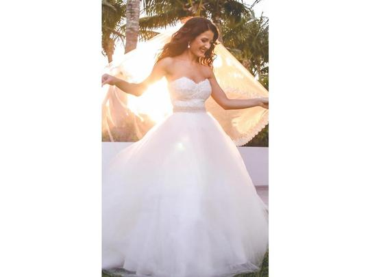 Ivory Ball Gown Wedding Dress: Monique Lhuillier Light Ivory Lace & Tulle Corset Top With